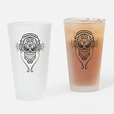DJ Sugar Skull Drinking Glass