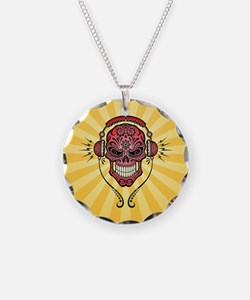 DJ Sugar Skull Red and Yellow Rays Necklace