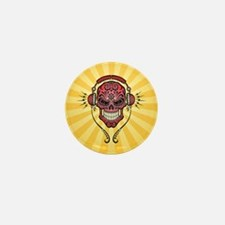 DJ Sugar Skull Red and Yellow Rays Mini Button