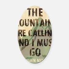 John Muir Mountains Oval Car Magnet