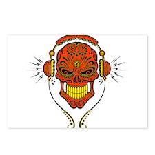 DJ Sugar Skull Red Postcards (Package of 8)