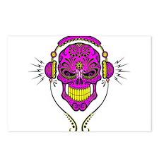 DJ Sugar Skull Purple Postcards (Package of 8)
