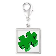 Puzzle Piece 2.1 Green Silver Square Charm