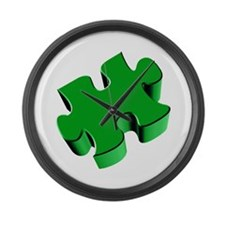Puzzle Piece 2.1 Green Large Wall Clock
