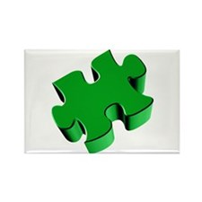 Puzzle Piece 2.1 Green Rectangle Magnet (100 pack)