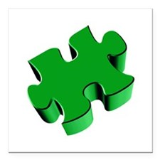 "Puzzle Piece 2.1 Green Square Car Magnet 3"" x 3"""