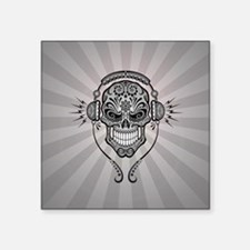 DJ Sugar Skull Gray Rays Sticker