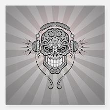 "DJ Sugar Skull Gray Rays Square Car Magnet 3"" x 3"""