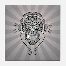 DJ Sugar Skull Gray Rays Tile Coaster