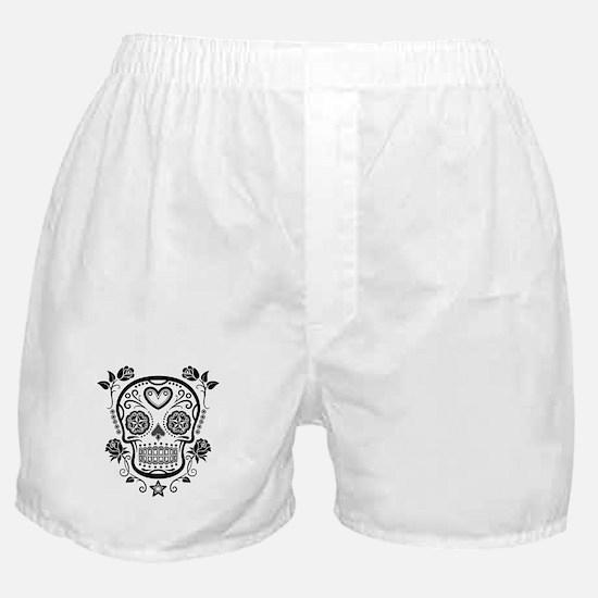Black Sugar Skull with Roses Boxer Shorts