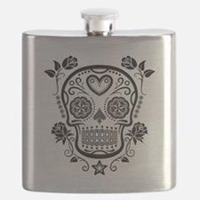 Black Sugar Skull with Roses Flask