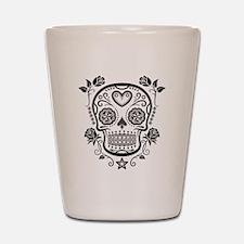 Black Sugar Skull with Roses Shot Glass