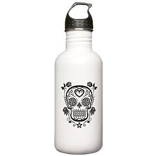 Black Sugar Skull with Roses Water Bottle