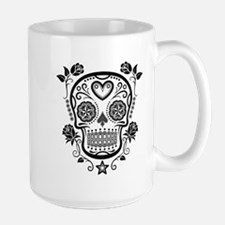 Black Sugar Skull with Roses Mugs