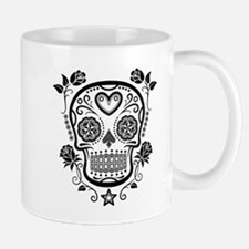 Black Sugar Skull with Roses Mugs
