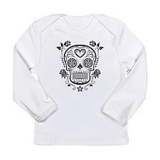 Black Sugar Skull with Roses Long Sleeve T-Shirt