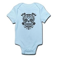 Black Sugar Skull with Roses Body Suit