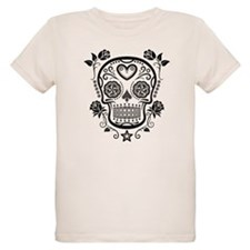 Black Sugar Skull with Roses T-Shirt
