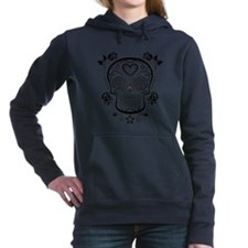 Black Sugar Skull with Roses Hooded Sweatshirt