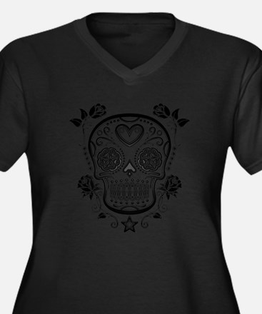 Black Sugar Skull with Roses Plus Size T-Shirt