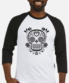 Black Sugar Skull with Roses Baseball Jersey