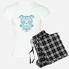 Blue Sugar Skull with Roses pajamas