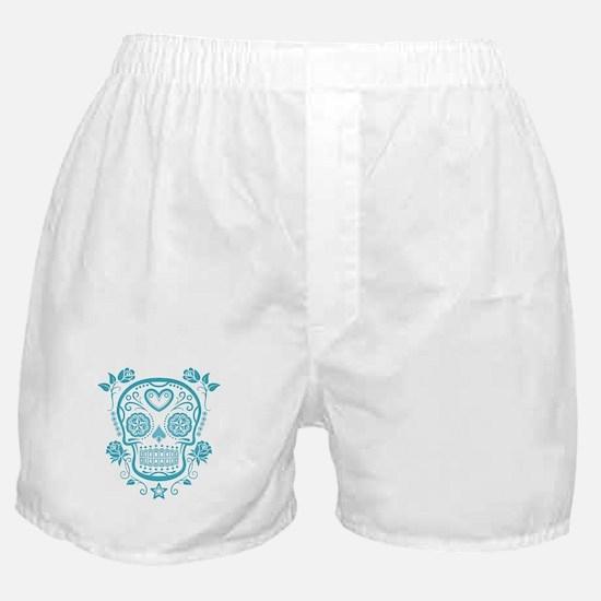 Blue Sugar Skull with Roses Boxer Shorts