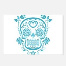 Blue Sugar Skull with Roses Postcards (Package of