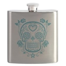 Blue Sugar Skull with Roses Flask