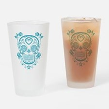 Blue Sugar Skull with Roses Drinking Glass