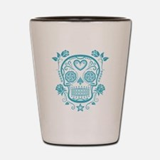 Blue Sugar Skull with Roses Shot Glass