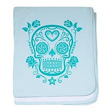 Blue Sugar Skull with Roses baby blanket