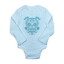 Blue Sugar Skull with Roses Body Suit