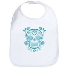 Blue Sugar Skull with Roses Bib