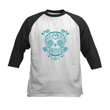 Blue Sugar Skull with Roses Baseball Jersey