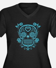 Blue Sugar Skull with Roses Plus Size T-Shirt