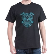 Blue Sugar Skull with Roses T-Shirt