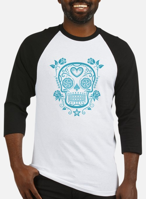 Blue Sugar Skull with Roses Baseball Jersey