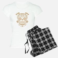 Brown Sugar Skull with Roses pajamas