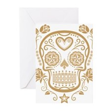 Brown Sugar Skull with Roses Greeting Cards