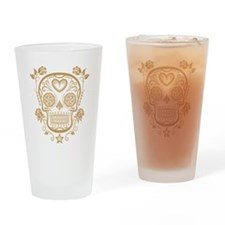 Brown Sugar Skull with Roses Drinking Glass