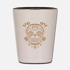 Brown Sugar Skull with Roses Shot Glass