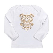 Brown Sugar Skull with Roses Long Sleeve T-Shirt