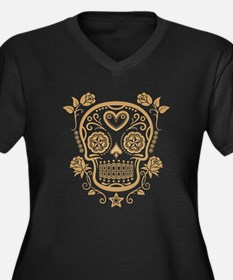Brown Sugar Skull with Roses Plus Size T-Shirt