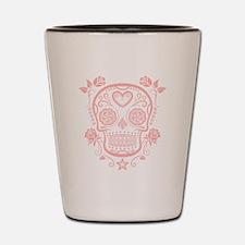 Pink Sugar Skull with Roses Shot Glass