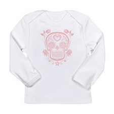 Pink Sugar Skull with Roses Long Sleeve T-Shirt