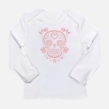 Pink Sugar Skull with Roses Long Sleeve T-Shirt