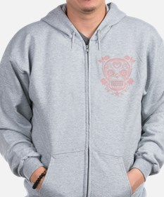 Pink Sugar Skull with Roses Zipped Hoody