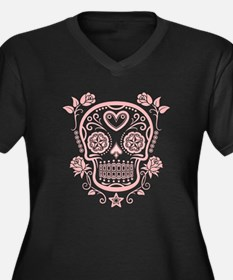 Pink Sugar Skull with Roses Plus Size T-Shirt