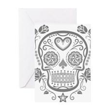 Gray Sugar Skull with Roses Greeting Cards
